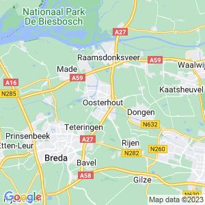 Werkgebied van onze bestrijder in Oosterhout