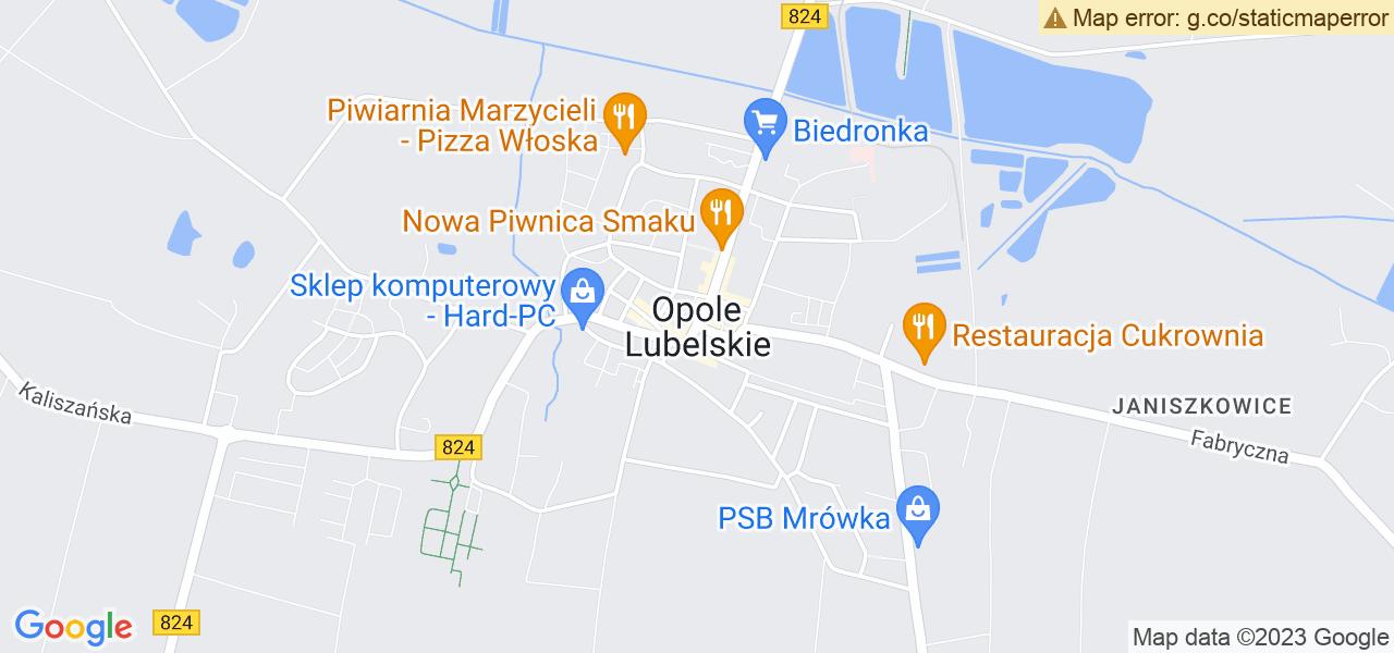 Jedna z ulic w Opolu Lubelskim – Lubelska i mapa dostępnych punktów wysyłki uszkodzonej turbiny do autoryzowanego serwisu regeneracji