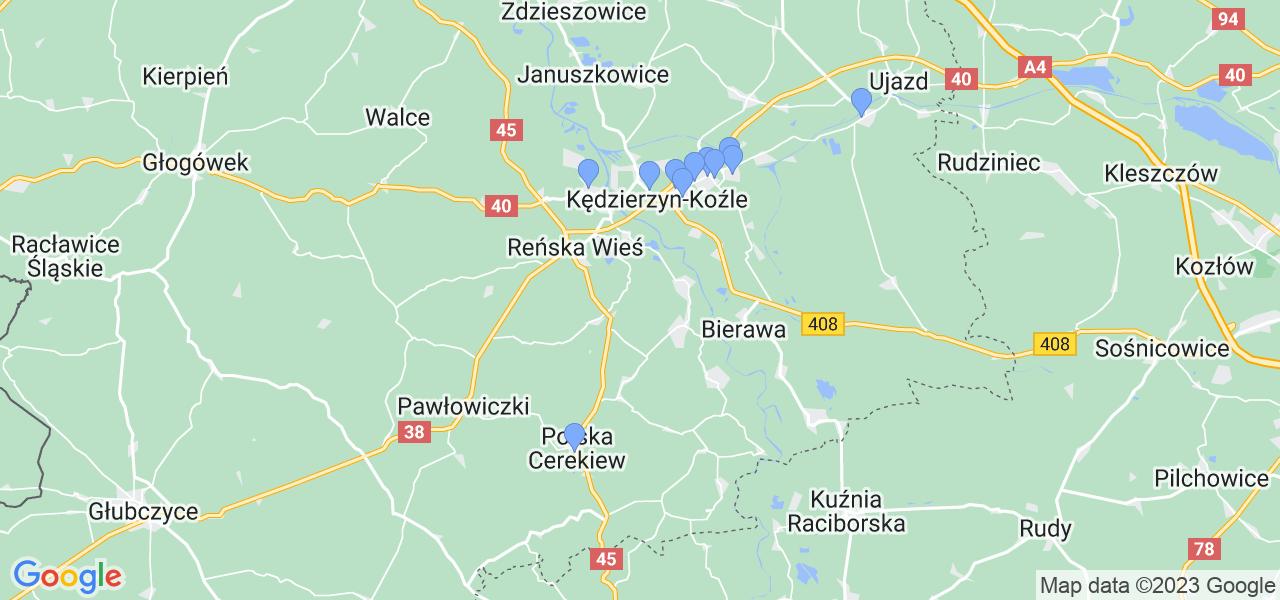 Mapka lokalizacji punktów nadania, z których mogą korzystać klienci serwisu regeneracji turbo w celu wysłania turbosprężarki – powiat kędzierzyńsko-kozielski