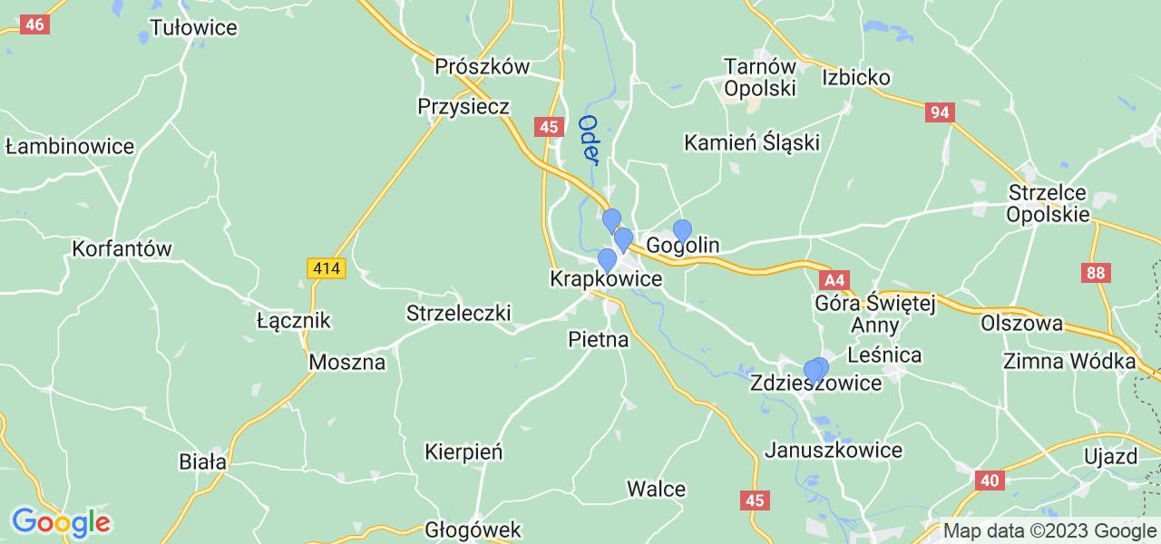 Mapka lokalizacji punktów nadania, z których mogą korzystać klienci serwisu regeneracji turbo w celu wysłania turbosprężarki – powiat krapkowicki