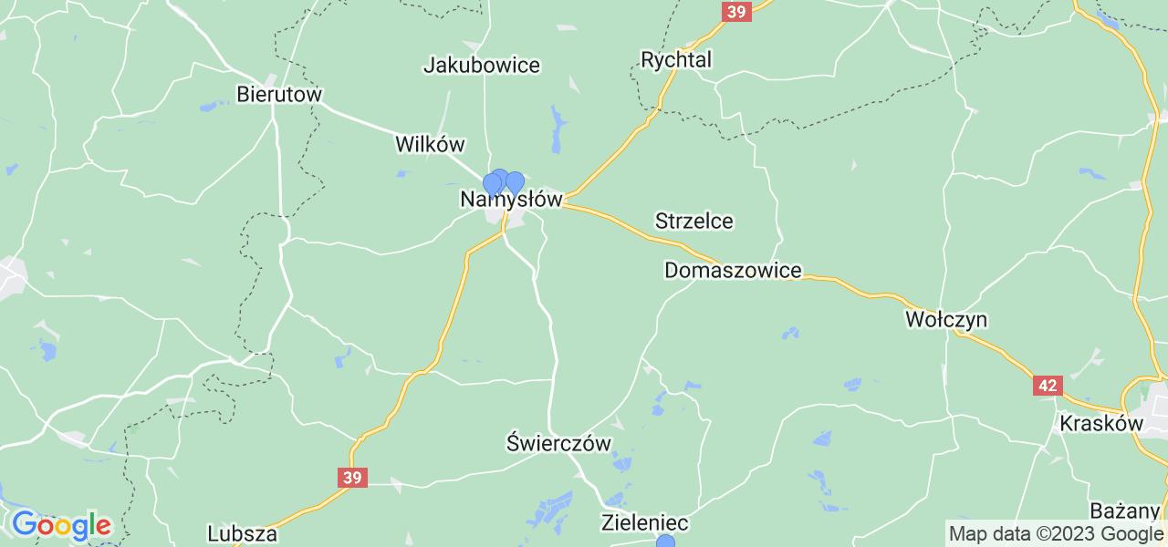 Mapka lokalizacji punktów nadania, z których mogą korzystać klienci serwisu regeneracji turbo w celu wysłania turbosprężarki – powiat namysłowski