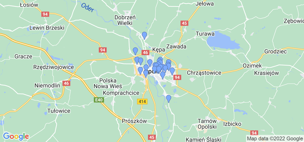 Mapka lokalizacji punktów nadania, z których mogą korzystać klienci serwisu regeneracji turbo w celu wysłania turbosprężarki – powiat opole