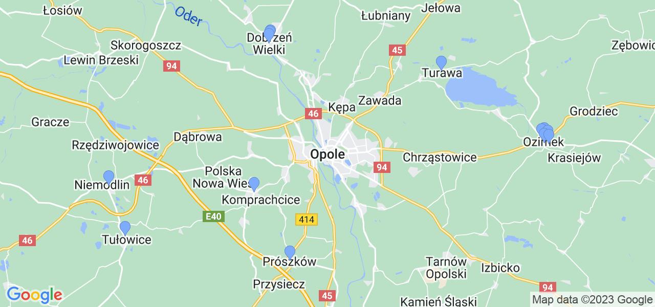 Mapka lokalizacji punktów nadania, z których mogą korzystać klienci serwisu regeneracji turbo w celu wysłania turbosprężarki – powiat opolski