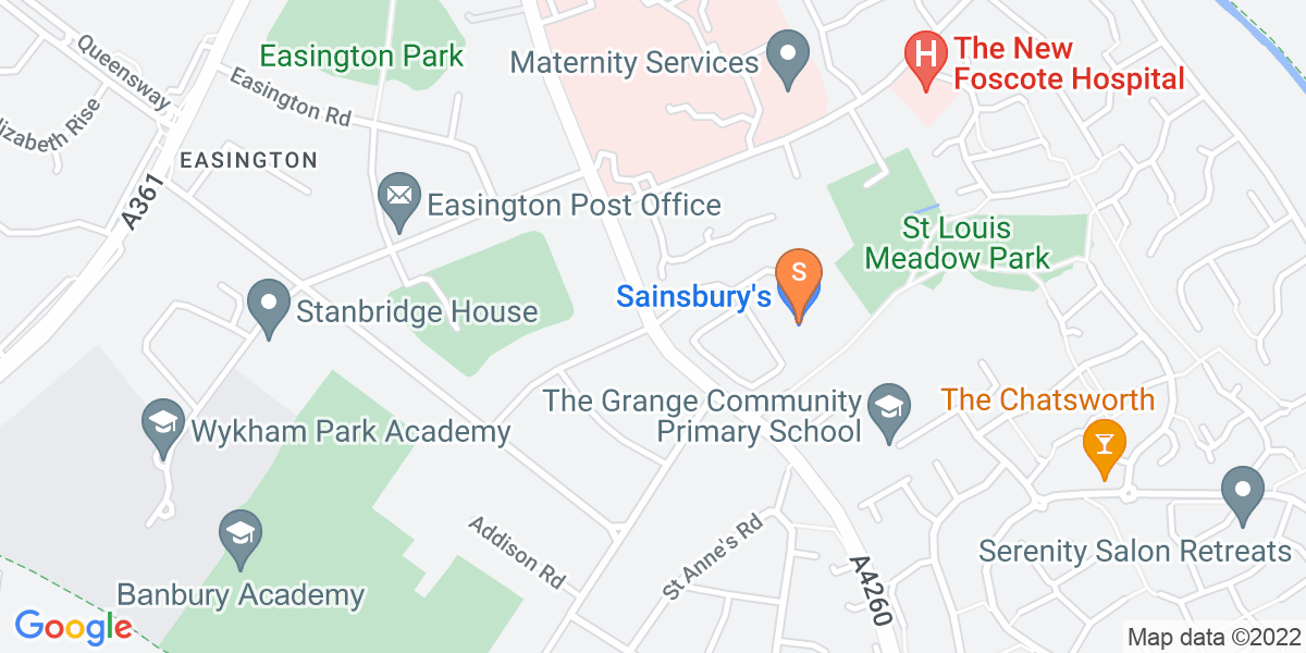 Google Map of Oxford Road Banbury OX16 9XA