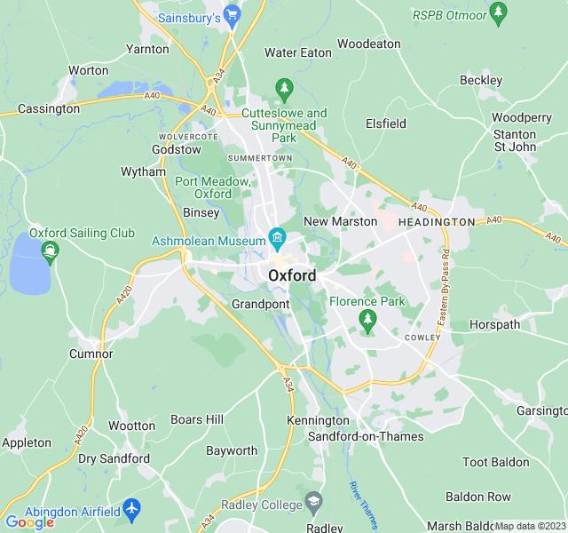 Website Designer Oxford Google map of location