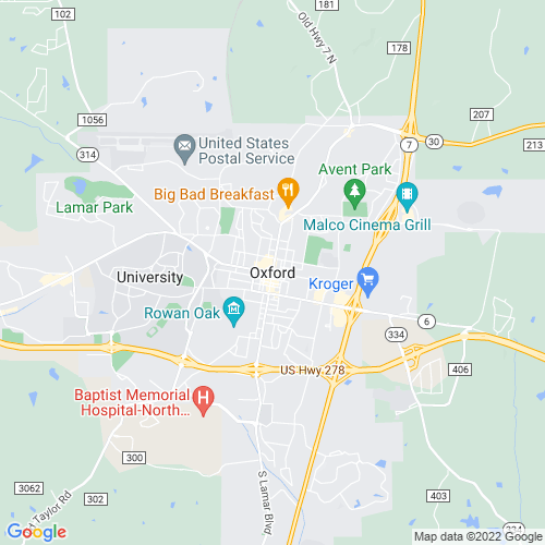 Map of Oxford, MS
