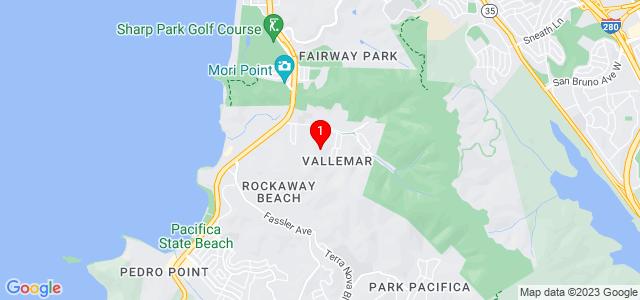 Google Map of PO Box 1202 Pacifica, CA 94044