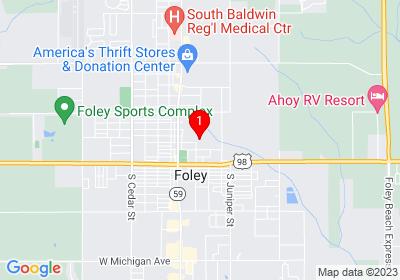 Google Map of PO Box 1963 Foley, AL 36536
