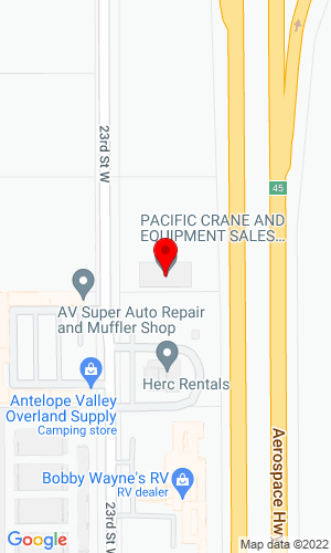 Google Map of Pacific Cranes & Equipment Sales 14030 Rose Avenue, Fontana, CA, 92337,