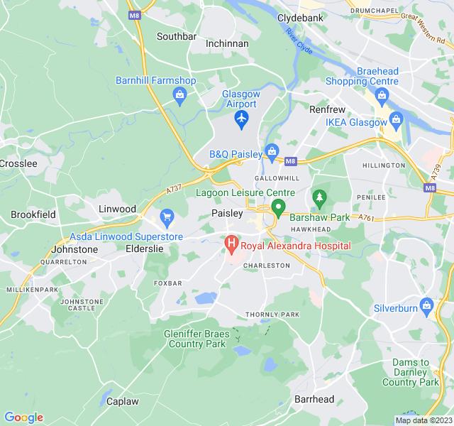 Website Designer Paisley Google map of location