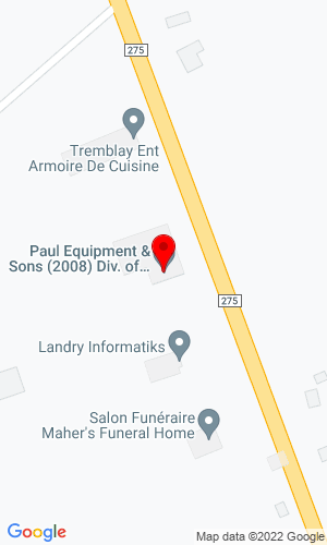 Google Map of Paul Equipment and Sons 55 Rue Drapeau Street, Balmoral, NB, E8E 2W7