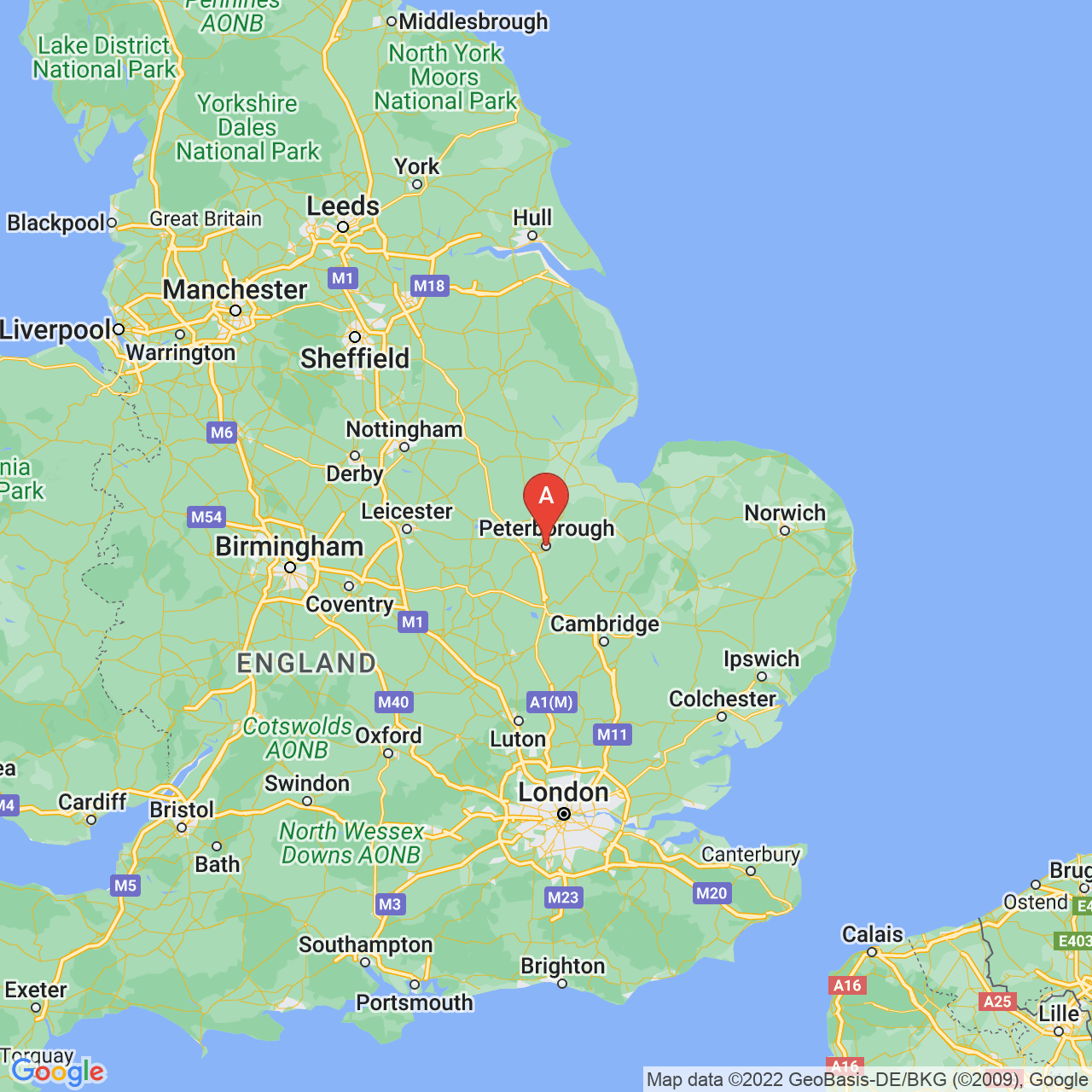 Peterborough, England Map