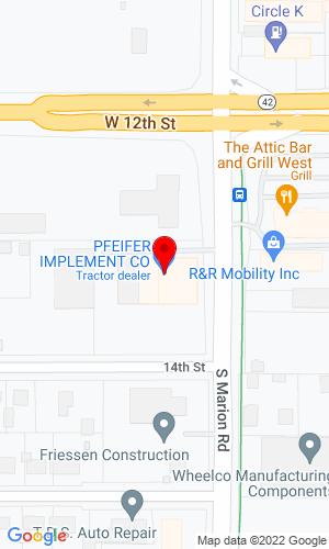 Google Map of Pfeifer Implement Co 5301 West 12th Street, Sioux Falls, SD, 57106-0240
