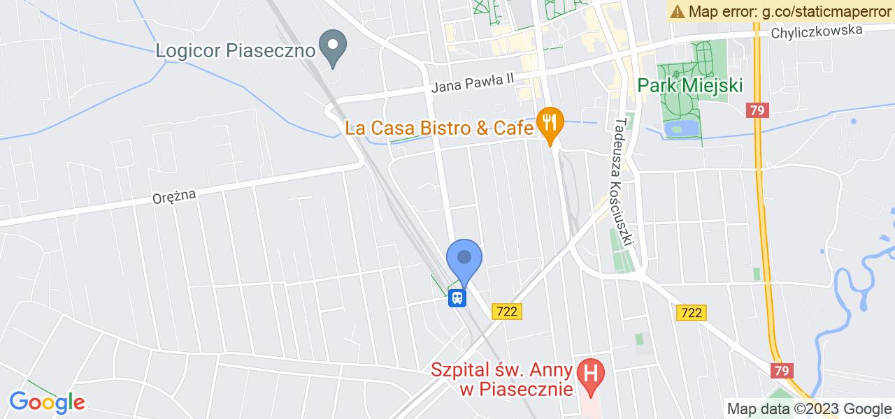 Jedna z ulic w Piasecznie – Dworcowa i mapa dostępnych punktów wysyłki uszkodzonej turbiny do autoryzowanego serwisu regeneracji