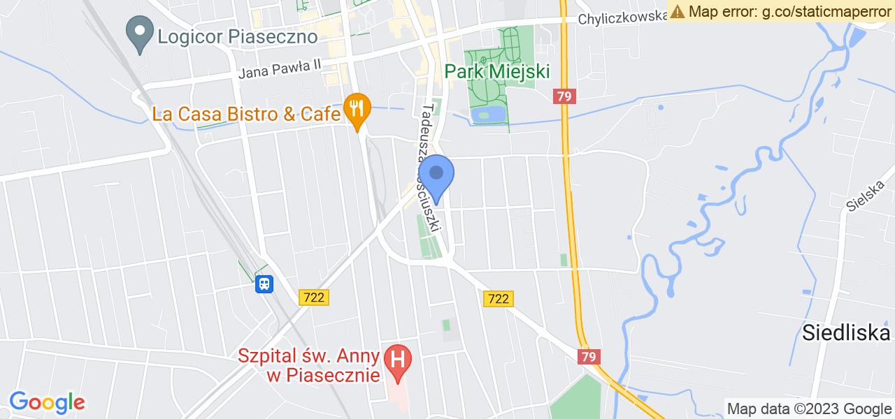 Jedna z ulic w Piasecznie – Jana Kilińskiego i mapa dostępnych punktów wysyłki uszkodzonej turbiny do autoryzowanego serwisu regeneracji