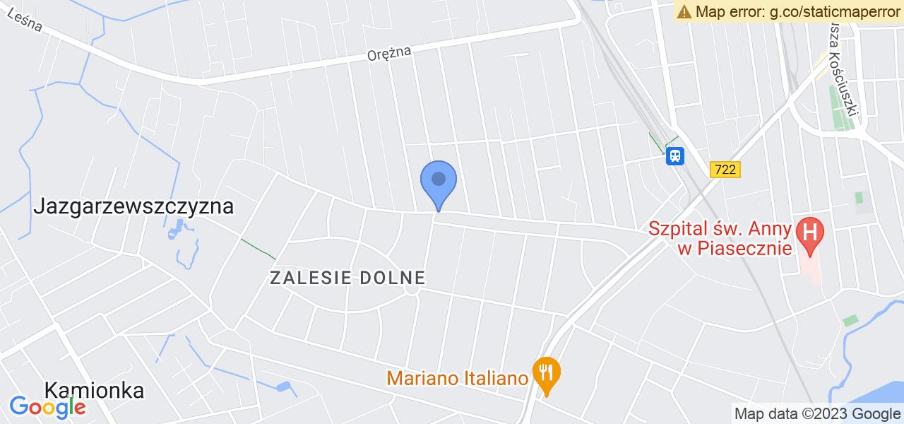Jedna z ulic w Piasecznie – Pomorska i mapa dostępnych punktów wysyłki uszkodzonej turbiny do autoryzowanego serwisu regeneracji
