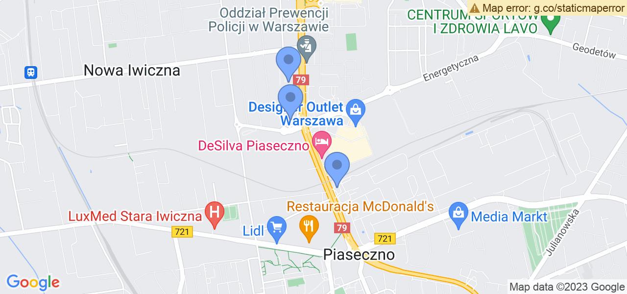 Jedna z ulic w Piasecznie – Puławska i mapa dostępnych punktów wysyłki uszkodzonej turbiny do autoryzowanego serwisu regeneracji