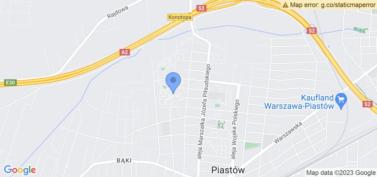 Jedna z ulic w Piastowie – Łukasińskiego i mapa dostępnych punktów wysyłki uszkodzonej turbiny do autoryzowanego serwisu regeneracji