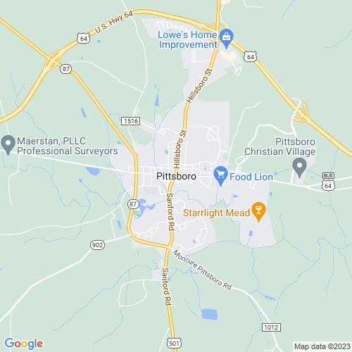 Map of Pittsboro, NC