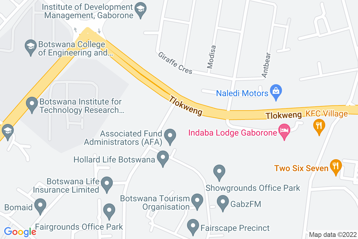 Google Map of Plot 67977, Off Tlokweng Road, Fairgrounds Office Park, Gaborone. KPMG Building