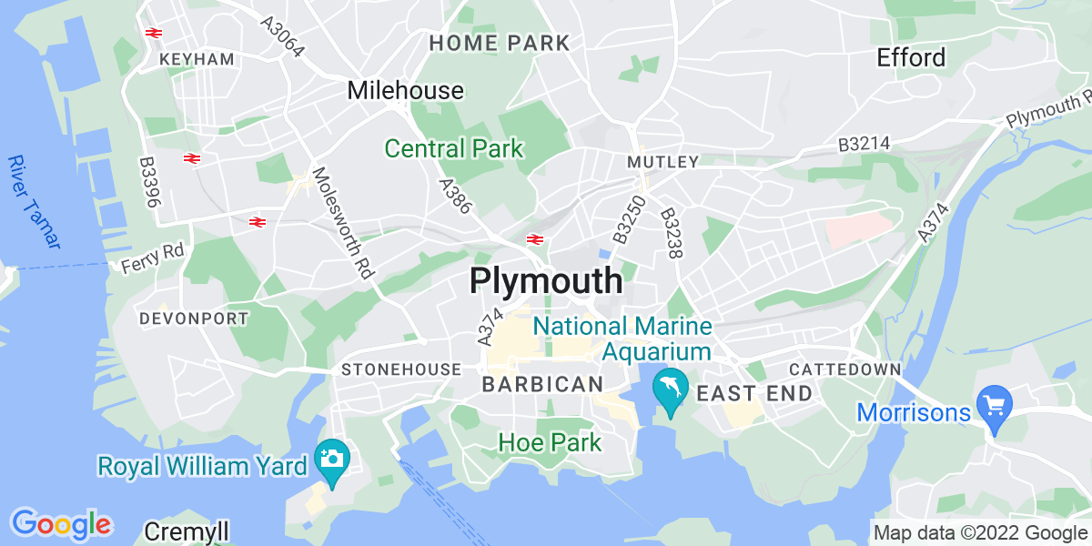 Map: Clinical Lead position in Plymouth