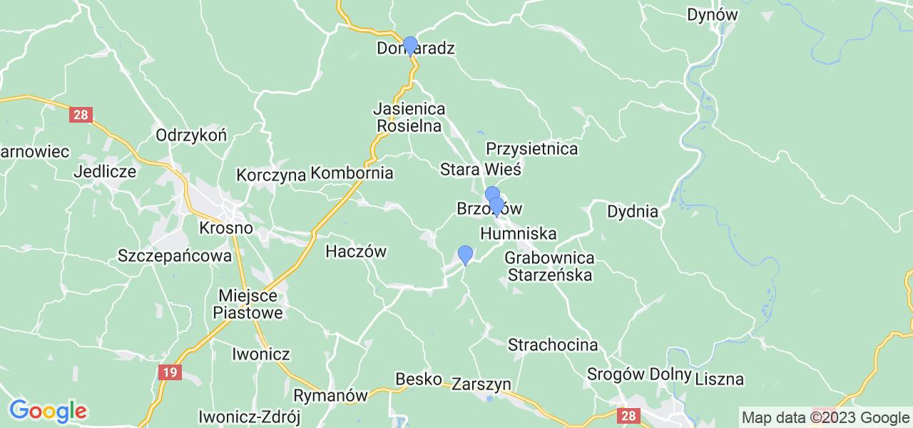Mapka lokalizacji punktów nadania, z których mogą korzystać klienci serwisu regeneracji turbo w celu wysłania turbosprężarki – powiat brzozowski