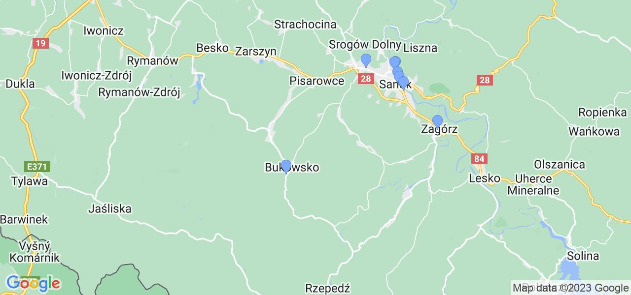 Mapka lokalizacji punktów nadania, z których mogą korzystać klienci serwisu regeneracji turbo w celu wysłania turbosprężarki – powiat sanocki