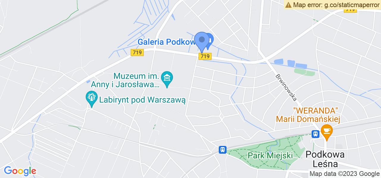 Jedna z ulic w Podkowie Leśnej – Gołębia i mapa dostępnych punktów wysyłki uszkodzonej turbiny do autoryzowanego serwisu regeneracji