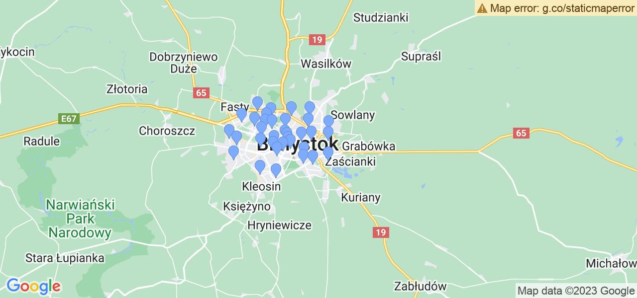 Mapka lokalizacji punktów nadania, z których mogą korzystać klienci serwisu regeneracji turbo w celu wysłania turbosprężarki – powiat białostocki