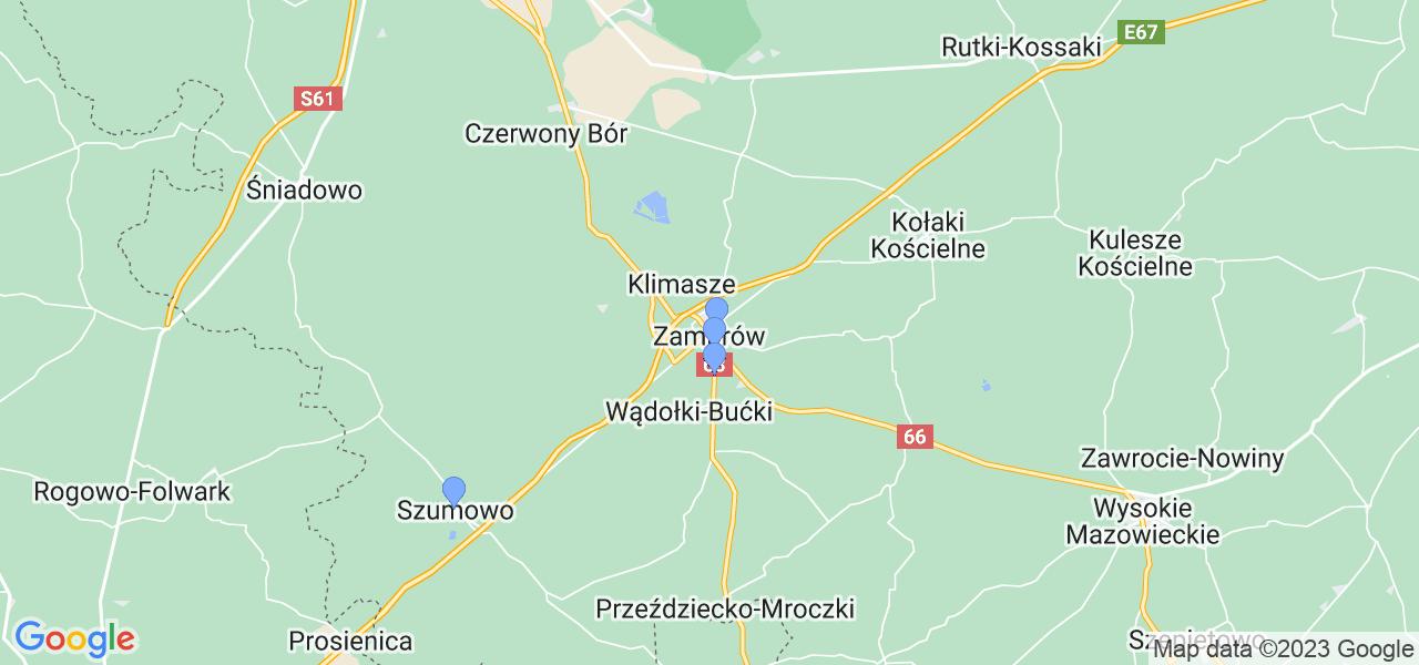 Mapka lokalizacji punktów nadania, z których mogą korzystać klienci serwisu regeneracji turbo w celu wysłania turbosprężarki – powiat zambrowski