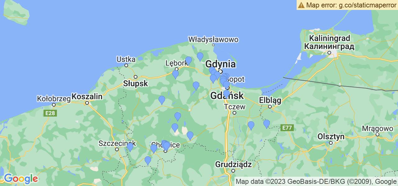 Mapka dostępnych punktów wysyłki filtrów cząstek stałych do profesjonalnego czyszczenia w serwisie na terenie województwa pomorskiego