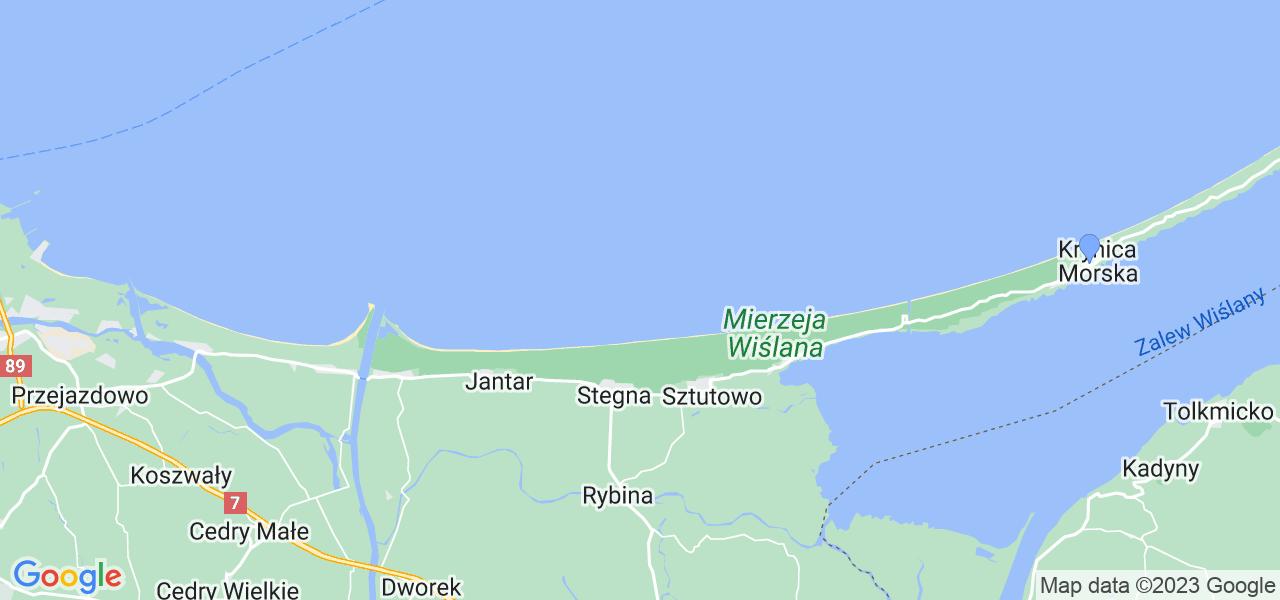 Mapka lokalizacji punktów nadania, z których mogą korzystać klienci serwisu regeneracji turbo w celu wysłania turbosprężarki – powiat nowodworski (pomorskie)