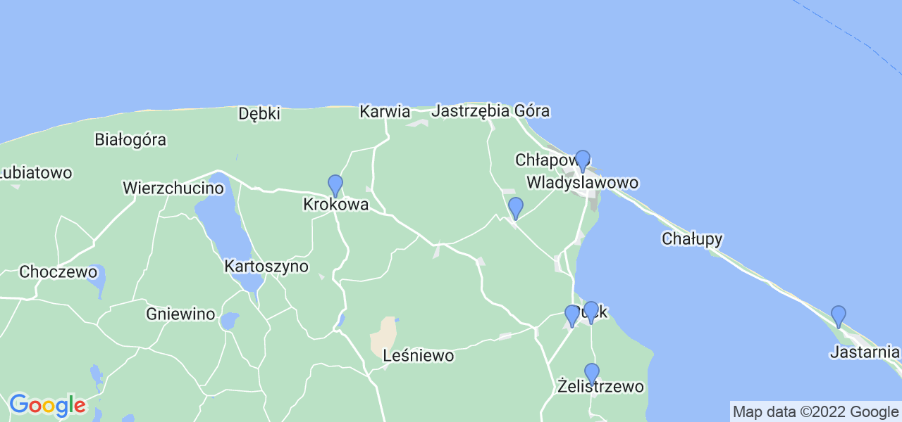 Mapka lokalizacji punktów nadania, z których mogą korzystać klienci serwisu regeneracji turbo w celu wysłania turbosprężarki – powiat pucki