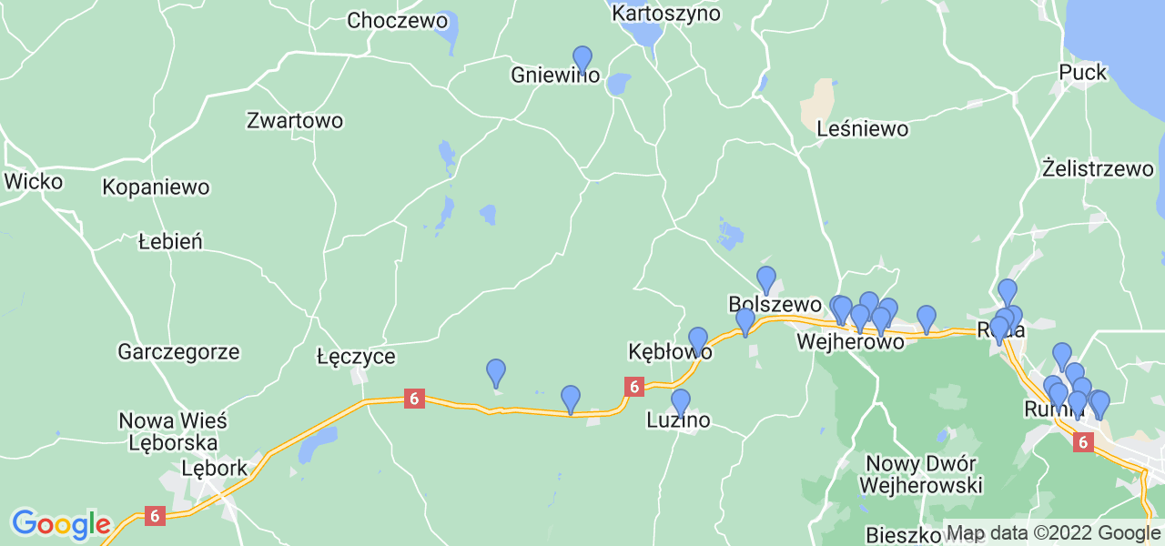 Mapka lokalizacji punktów nadania, z których mogą korzystać klienci serwisu regeneracji turbo w celu wysłania turbosprężarki – powiat wejherowski