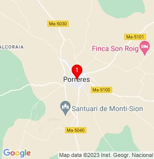 Google Map of Porreres, Baleares, Spain
