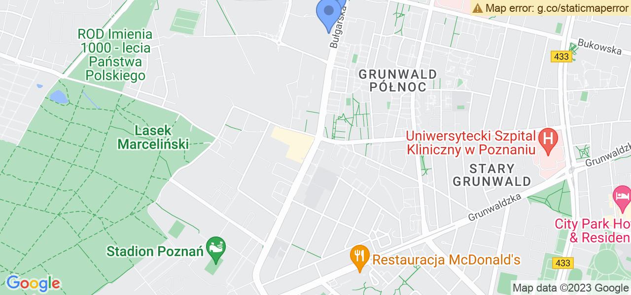 Jedna z ulic w Poznaniu – Bułgarska i mapa dostępnych punktów wysyłki uszkodzonej turbiny do autoryzowanego serwisu regeneracji