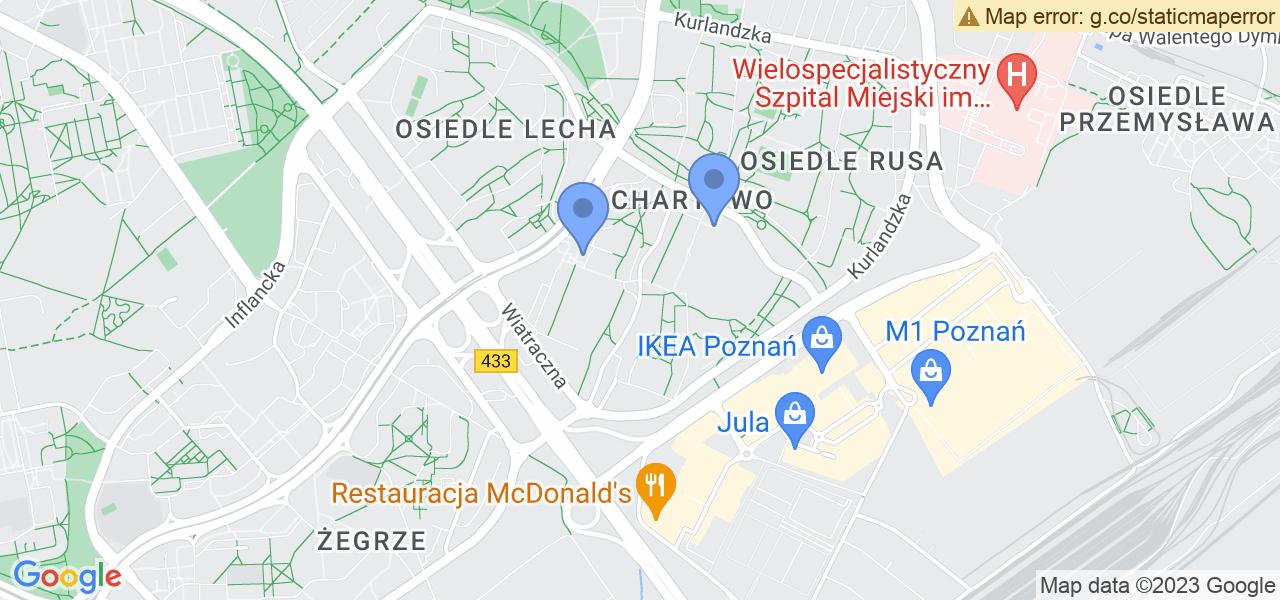Jedna z ulic w Poznaniu – Czecha i mapa dostępnych punktów wysyłki uszkodzonej turbiny do autoryzowanego serwisu regeneracji