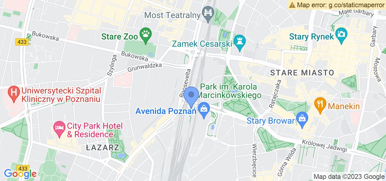 Jedna z ulic w Poznaniu – Dworcowa i mapa dostępnych punktów wysyłki uszkodzonej turbiny do autoryzowanego serwisu regeneracji