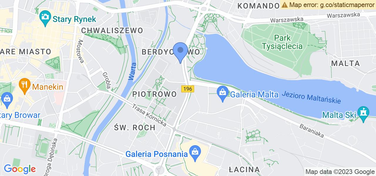 Jedna z ulic w Poznaniu – Jana Pawła II i mapa dostępnych punktów wysyłki uszkodzonej turbiny do autoryzowanego serwisu regeneracji
