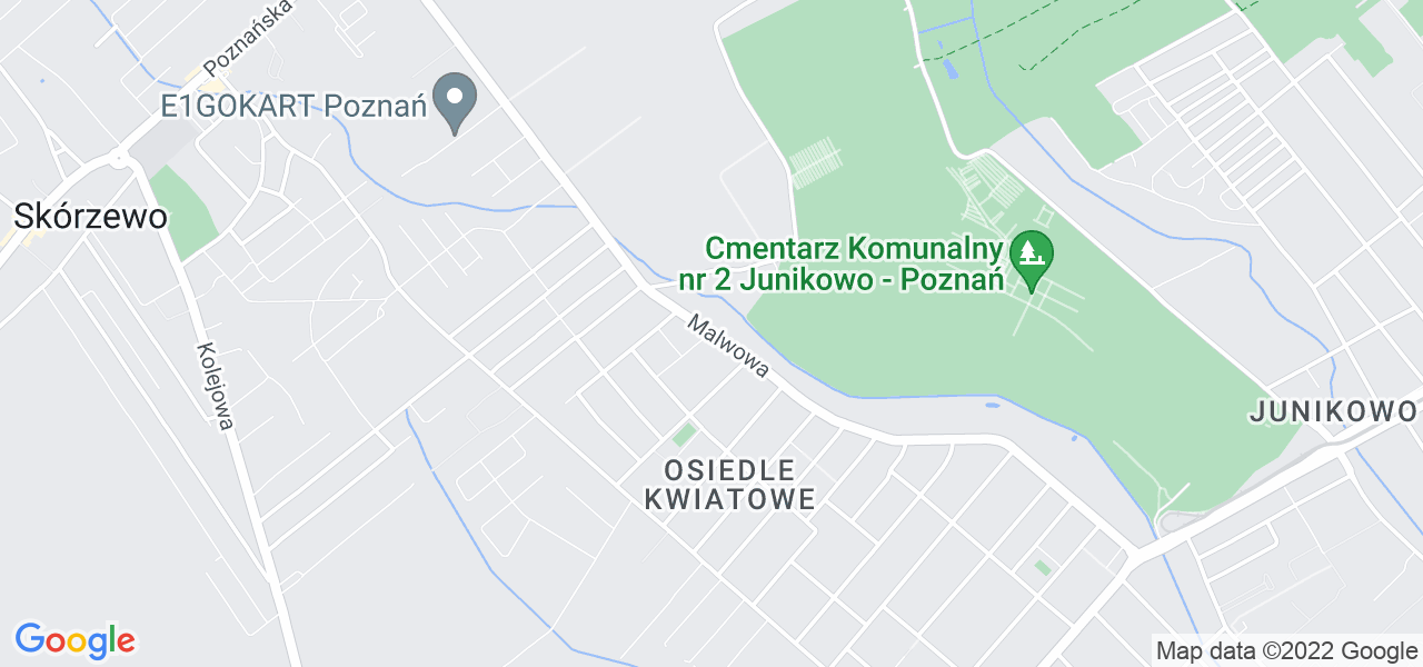 Jedna z ulic w Poznaniu – Malwowa i mapa dostępnych punktów wysyłki uszkodzonej turbiny do autoryzowanego serwisu regeneracji
