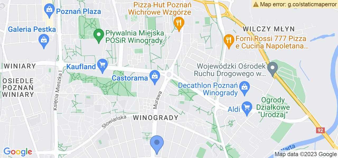 Jedna z ulic w Poznaniu – Murawa i mapa dostępnych punktów wysyłki uszkodzonej turbiny do autoryzowanego serwisu regeneracji