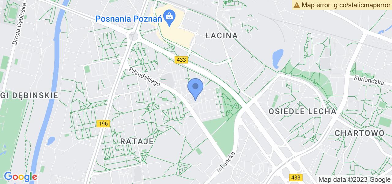 Jedna z ulic w Poznaniu – Oświecenia i mapa dostępnych punktów wysyłki uszkodzonej turbiny do autoryzowanego serwisu regeneracji