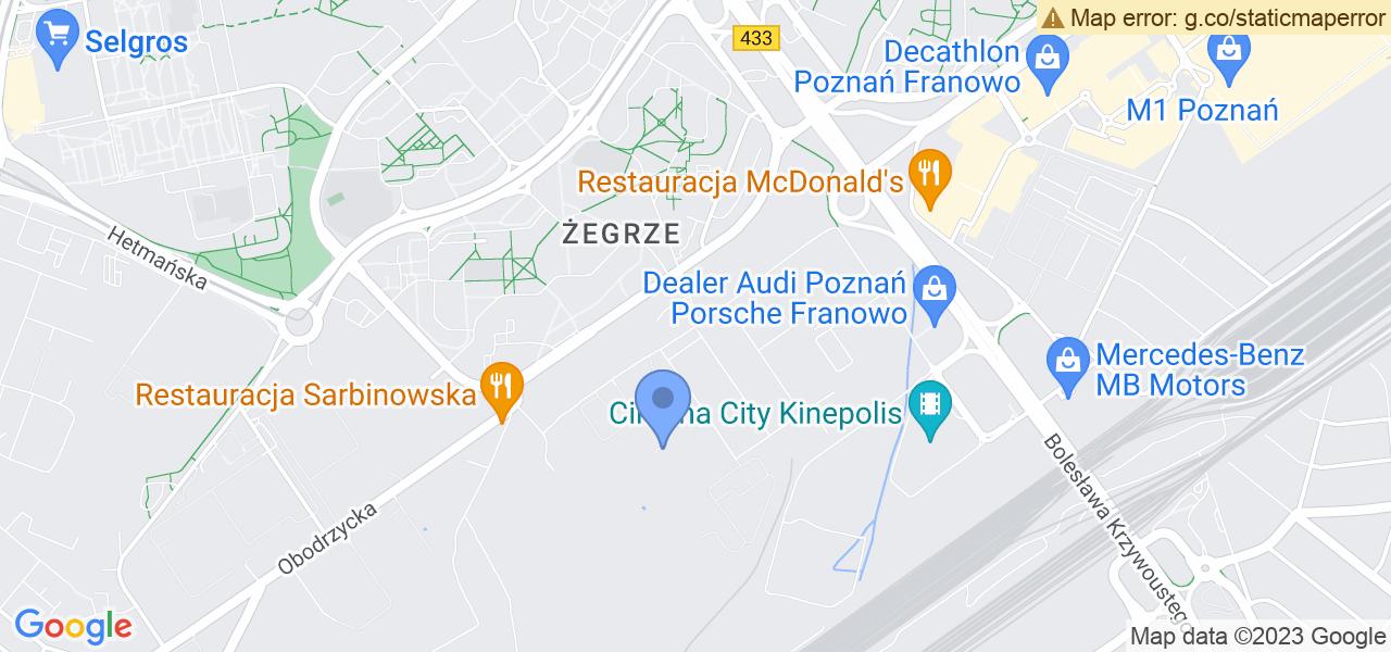Jedna z ulic w Poznaniu – Stanisława Zwierzchowskiego i mapa dostępnych punktów wysyłki uszkodzonej turbiny do autoryzowanego serwisu regeneracji