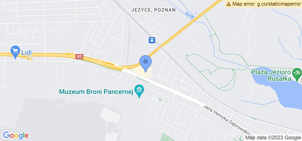 Jedna z ulic w Poznaniu – Tatrzańska i mapa dostępnych punktów wysyłki uszkodzonej turbiny do autoryzowanego serwisu regeneracji