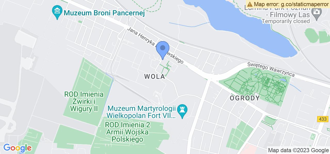 Jedna z ulic w Poznaniu – os. Lotnictwa Polskiego i mapa dostępnych punktów wysyłki uszkodzonej turbiny do autoryzowanego serwisu regeneracji
