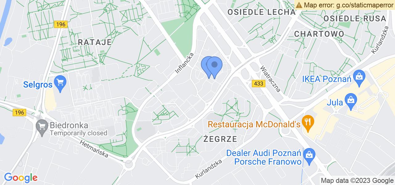 Jedna z ulic w Poznaniu – os. Stare Żegrze i mapa dostępnych punktów wysyłki uszkodzonej turbiny do autoryzowanego serwisu regeneracji