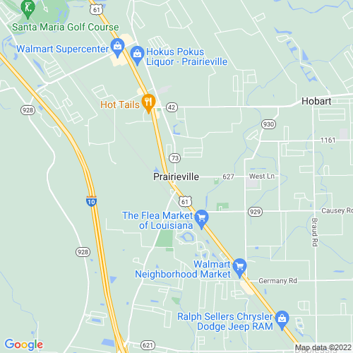 Map of Prairieville, LA