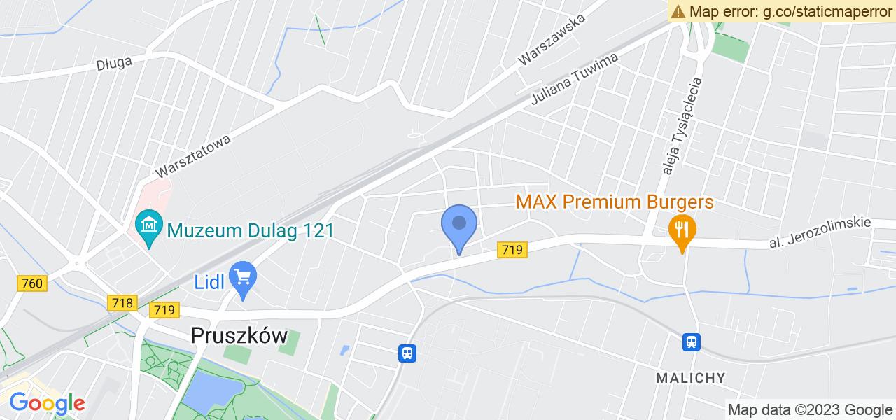 Jedna z ulic w Pruszkowie – Główna i mapa dostępnych punktów wysyłki uszkodzonej turbiny do autoryzowanego serwisu regeneracji