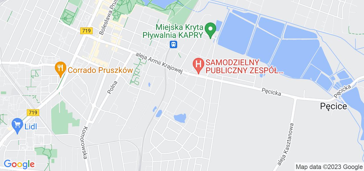 Jedna z ulic w Pruszkowie – Kosynierów i mapa dostępnych punktów wysyłki uszkodzonej turbiny do autoryzowanego serwisu regeneracji