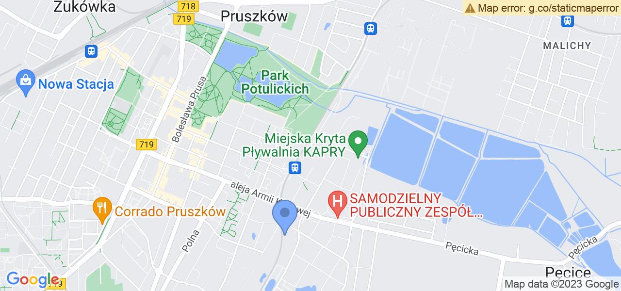 Jedna z ulic w Pruszkowie – Książąt Mazowieckich i mapa dostępnych punktów wysyłki uszkodzonej turbiny do autoryzowanego serwisu regeneracji